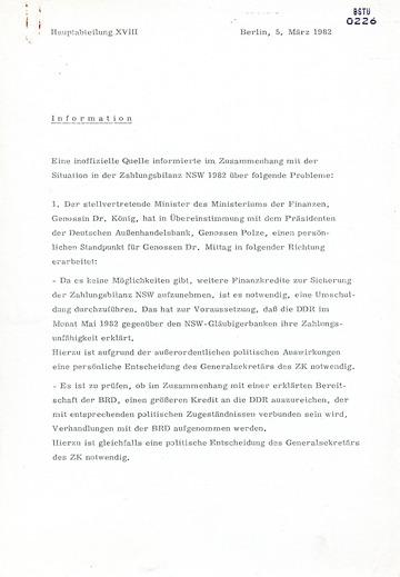 Information zur Situation der Zahlungsbilanz der DDR 1982