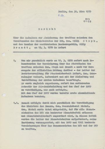Bericht über die Maßnahmen zur Absicherung des Treffens zwischen Willi Stoph und Willy Brandt