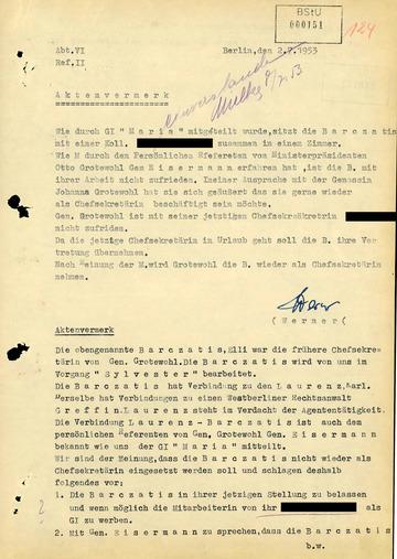 Vermerk zur Wiedereinstellung von Elli Barczatis beim Ministerpräsidenten der DDR
