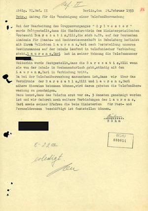 Antrag auf Telefonüberwachung von Karl Laurenz