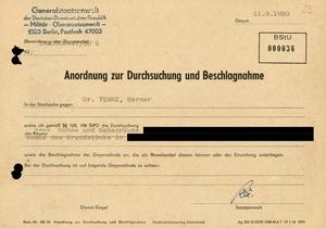 Anordnung des Generalstaatsanwaltes zur Durchsuchung der Wohnräume von Werner Teske