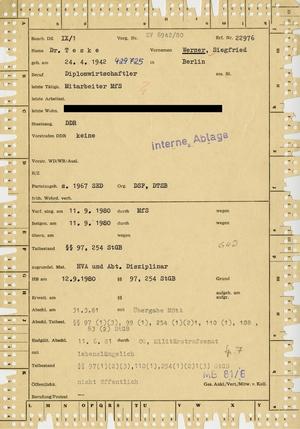 Kerblochkartei der Hauptabteilung IX zu Werner Teske