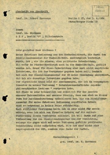 Brief von Robert Havemann an den Staatssekretär für das Hoch- und Fachschulwesen Ernst-Joachim Gießmann
