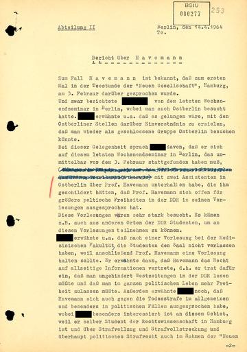 Bericht über einen in der Bundesrepublik erschienen Artikel zu Robert Havemann