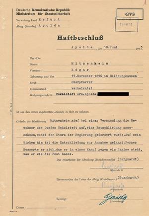 Haftbeschluss gegen den Pfarrer Edgar Mitzenheim