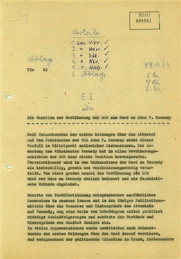 Reaktionen der DDR-Bevölkerung auf den Mord an John F. Kennedy