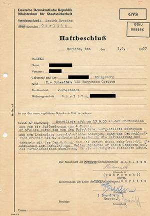 Haftbeschluss zu einem Redner auf dem Görlitzer Leninplatz während des Volksaufstands vom 17. Juni 1953