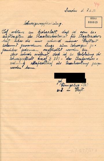 """Während der Haft erzwungene """"Schweigeverpflichtung"""" eines nach dem des 17. Juni 1953 verurteilten Arbeiters"""