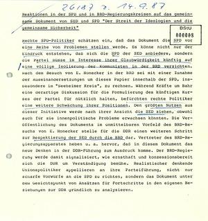 Reaktionen in der SPD und der Bundesregierung auf das gemeinsame Dokument von SED und SPD