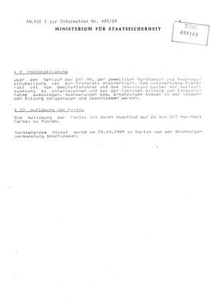 Bericht über antisozialistische Sammlungsbewegungen