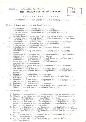 Bericht über die Formierung von Oppositionsbewegungen in der DDR