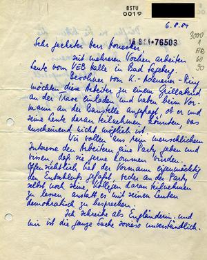 Bittbrief an Honecker zur Ausrichtung eines Grillfestes