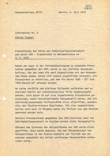 Reise der Touristendelegation zum Spiel DDR-Argentinien während der WM 1974
