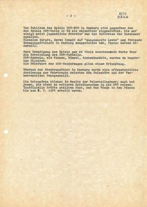 Reise der Touristendelegation zum Spiel DDR-Bundesrepublik während der WM 1974