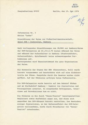 Touristenreise zum Spiel DDR-Australien während der Fußball-Weltmeisterschaft 1974