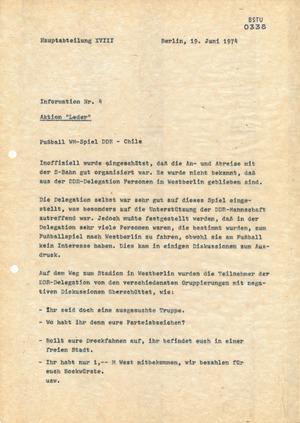 Touristenreise zum Spiel DDR-Chile während der WM 1974