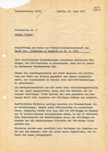 Reise der Touristendelegation zum Spiel DDR-Brasilien während der WM 1974