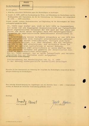 """Einlieferungsanzeige von Werner Teske wegen des dringenden Tatverdachts der """"Spionagetätigkeit"""""""