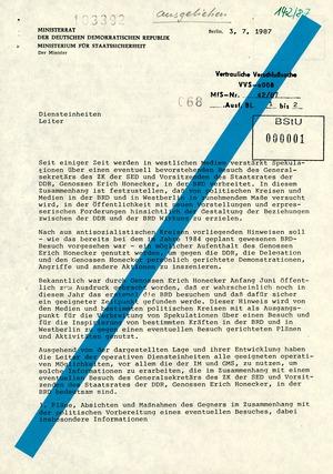 Weisung an alle Leiter der operativen Diensteinheiten zu Honeckers Besuch in der Bundesrepublik