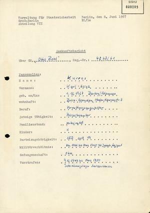 """""""Auskunftsbericht"""" vom 8. Juni 1967 über Karl-Heinz Kurras alias GM """"Otto Bohl"""""""