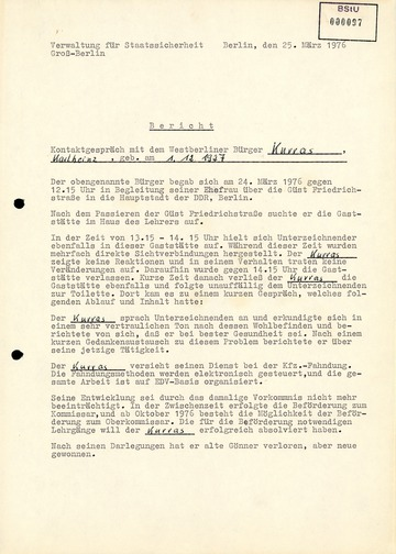 Bericht über ein Gespräch der Stasi mit Karl-Heinz Kurras im Jahre 1976