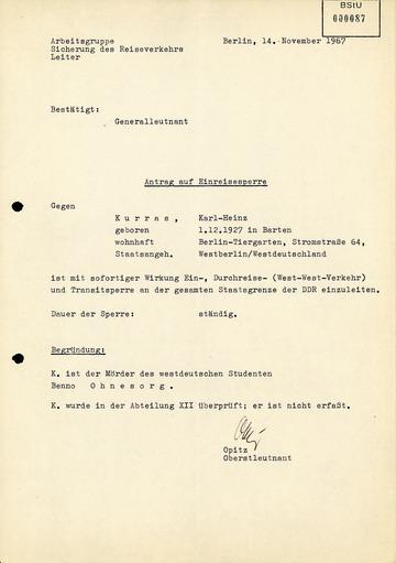 Einreisesperre gegen Karl-Heinz Kurras