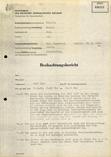 Bericht über eine Beobachtung von Karl-Heinz Kurras 1984 in Ost-Berlin