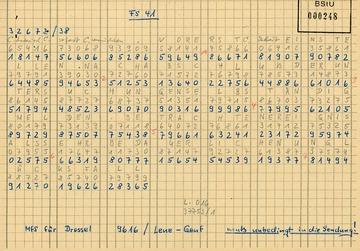 Chiffrierter Funkspruch Nr. 41 des MfS an Karl-Heinz Kurras nach dem Schuss auf Benno Ohnesorg