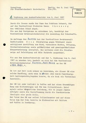 """Ergänzung zum """"Auskunftsbericht"""" vom 8. Juni 1967 über Karl-Heinz Kurras alias GM """"Otto Bohl"""""""