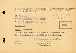 Bericht der BV Karl-Marx-Stadt über die Stimmung im Kreis Plauen nach dem Mauerbau