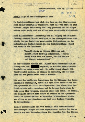 Bericht der Bezirksverwaltung Karl-Marx-Stadt nach Abschluss der Zwangsumsiedlungen 1961