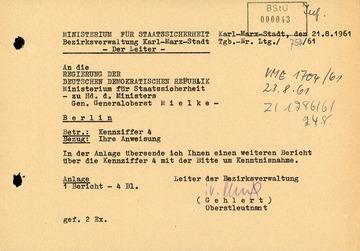 Bericht der BV Karl-Marx-Stadt über die Situation im Grenzgebiet zur Bundesrepublik