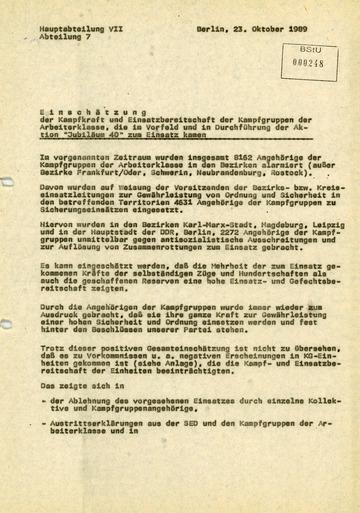 """Einschätzung der Einsatzbereitschaft der Kampfgruppen bei der Aktion """"Jubiläum 40"""""""
