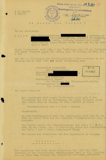 """Urteil gegen einen Postangestellten wegen """"Boykotthetze"""" während des Volksaufstandes"""
