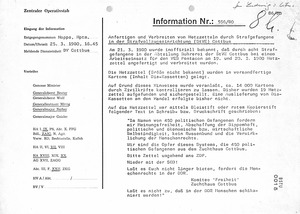 Information über aufgefundene Kassiber in der Haftanstalt Cottbus