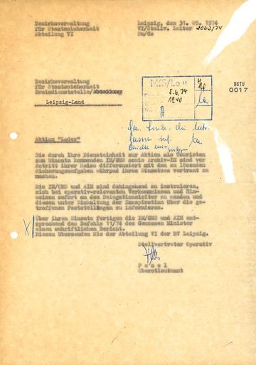 Anweisung zur Instruktion von Inoffiziellen Mitarbeitern in Touristendelegationen zur WM 1974