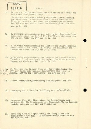"""Befehl Nr. 20/72 """"Politisch-operative Aufgaben zur sicheren und vertragsgerechten Durchführung des Transit-, Reise- und Besucherverkehrs"""""""