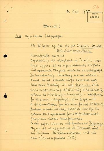 """Bericht von GM """"Otto Bohl"""" über die Organisationsabteilung der West-Berliner Schutzpolizei"""