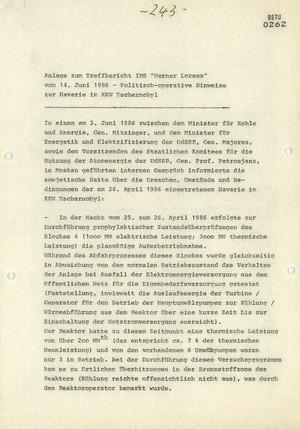 Gespräch der Energieminister der DDR und Sowjetunion über das Reaktorunglück von Tschernobyl