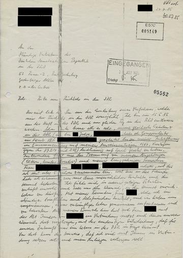 Bitte eines ehemaligen DDR-Bürgers um Rückkehr
