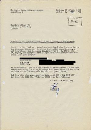 Aufhebung der Einreisesperre gegen einen ehemaligen DDR-Bürger