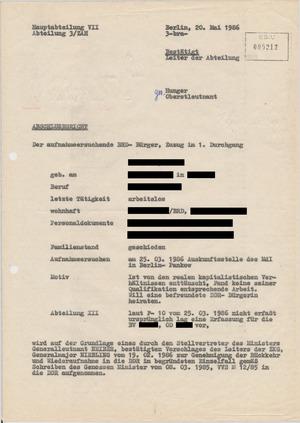Abschlussbericht der HA VII/3 über den Aufenthalt im Zentralen Aufnahmeheim Röntgental
