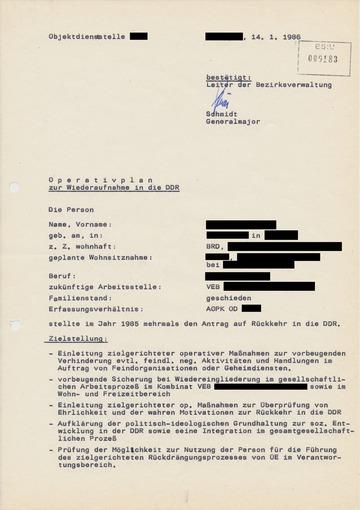 Operativplan zur Wiederaufnahme eines Rückkehrers in die DDR