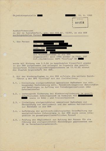 Auskunftsbericht zu einer in die DDR zurückgekehrten Person