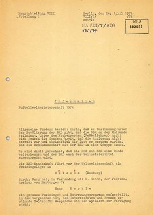 Information über die Mannschaft der Bundesrepublik während der Fußballweltmeisterschaft 1974