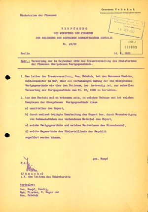 """Verfügung des DDR-Finanzministeriums zur Verwertung der Wertgegenstände aus der Aktion """"Licht"""""""