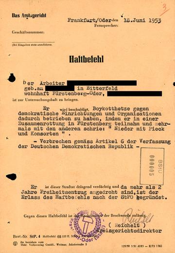 Haftbefehl des Amtsgerichts Frankfurt (Oder) gegen einen Teilnehmer der Proteste in Fürstenberg