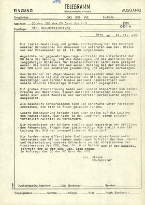 Telegramm der SED-Grundorganisation der KD Gera an die SED-Kreisleitung über Mielkes Auftritt vor der Volkskammer