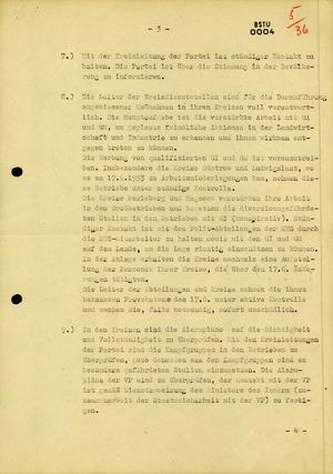 """Einsatzplan zur Aktion """"Bollwerk"""" für den ersten Jahrestag des 17. Juni 1953"""