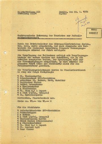 Vermerk über die Verpflegung der Touristendelegationen zur Fußball-Weltmeisterschaft 1974